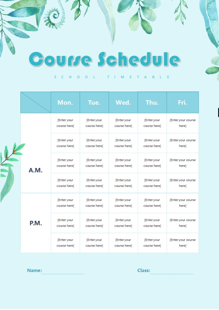 [Course Schedule]Blue Sprawling.docx
