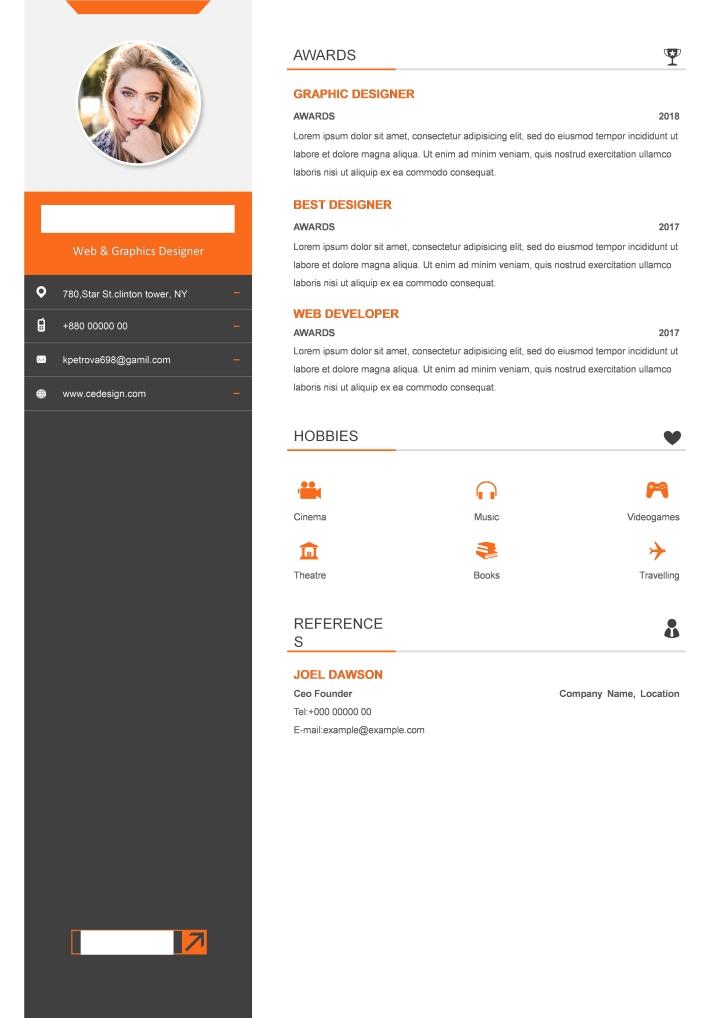 orange resume template docx - writer templates