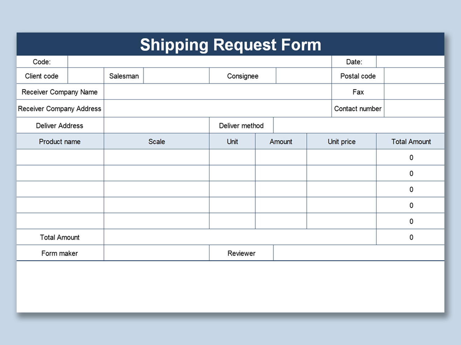 shipping request form template excel