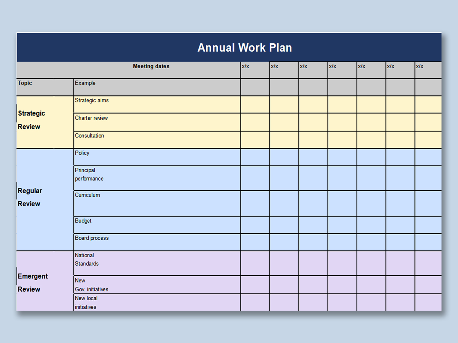 Sample Excel Templates: Annual Work Plan Template Excel